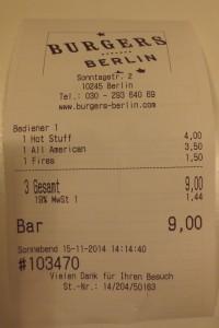 Die Preise sind echt in Ordnung im Burgers Berlin